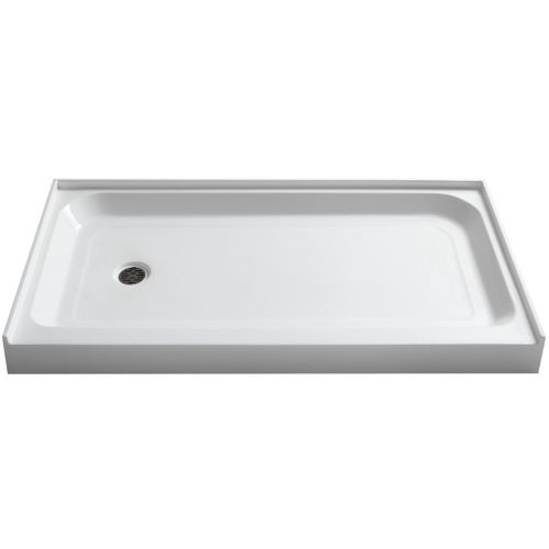 """Tier 60"""" x 32"""" x 5.5"""" Left Drain Acrylic Shower Base in Glossy White"""