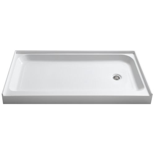 """Tier 60"""" x 32"""" x 5.5"""" Right Drain Acrylic Shower Base in Glossy White"""