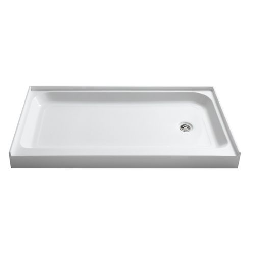 """Tier 60"""" x 36"""" x 5.5"""" Left Drain Acrylic Shower Base in Glossy White"""