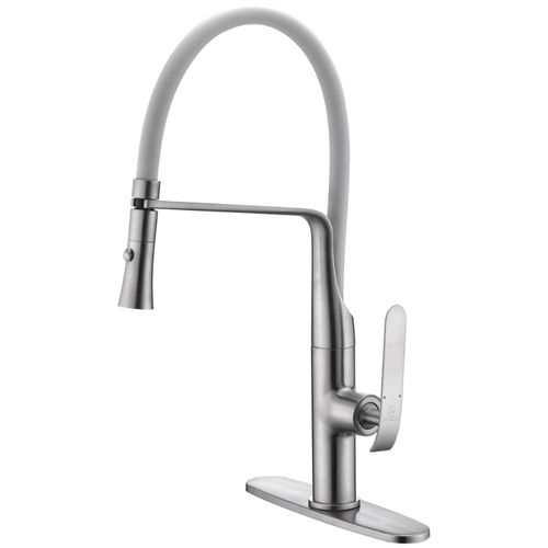 """Accent 19.69"""" Single-Handle Pull-Down Kitchen Faucet in Brushed Nickel"""