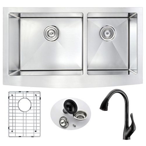 Elysian 32.88 Double Basin Farmhouse Apron Kitchen Sink with Accent Pull-Down Faucet in Oil Rubbed Bronze