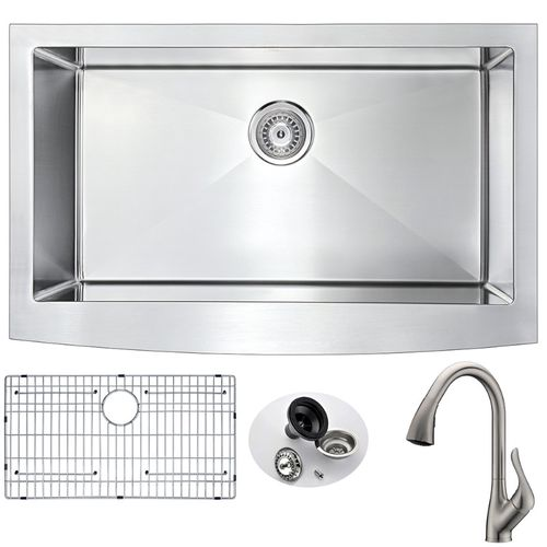 Elysian 32.88 Single Basin Farmhouse Apron Kitchen Sink with Accent Pull-Down Faucet in Brushed Nickel