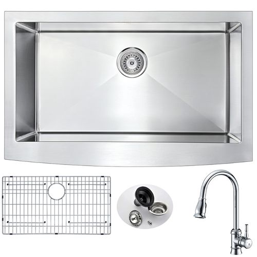 Elysian 32.88 Single Basin Farmhouse Apron Kitchen Sink with Sails Pull-Down Faucet in Polished Chrome