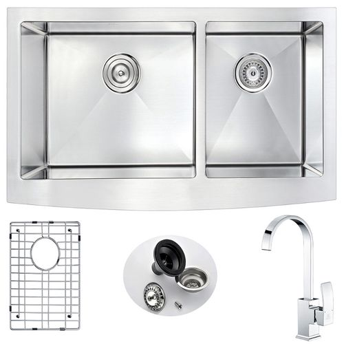 Elysian 35.88 Double Basin Farmhouse Apron Kitchen Sink with Opus Single-Handle Faucet in Polished Chrome
