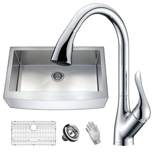 Elysian 35.88 Single Basin Farmhouse Apron Kitchen Sink with Accent Pull-Down Faucet in Polished Chrome