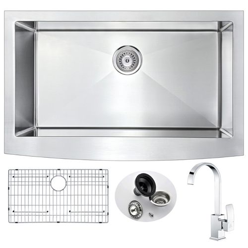 Elysian 35.88 Single Basin Farmhouse Apron Kitchen Sink with Opus Single-Handle Faucet in Polished Chrome