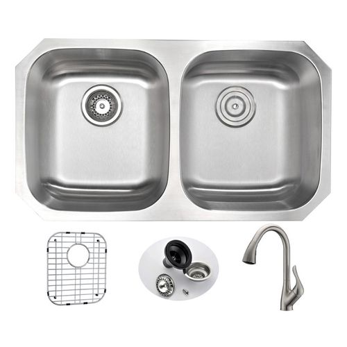 Moore 32.25 Double Basin Undermount Kitchen Sink with Accent Pull-Down Faucet in Brushed Nickel