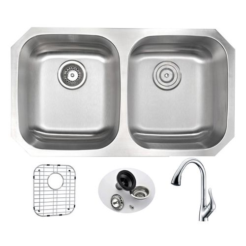Moore 32.25 Double Basin Undermount Kitchen Sink with Accent Pull-Down Faucet in Polished Chrome