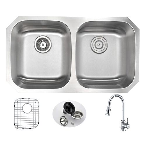 Moore 32.25 Double Basin Undermount Kitchen Sink with Sails Pull-Down Faucet in Polished Chrome