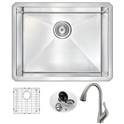 Vanguard 23 Single Basin Undermount Kitchen Sink with Accent Pull-Down Faucet in Brushed Nickel