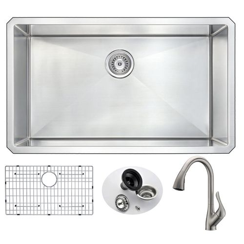 Vanguard 32.75 Single Basin Undermount Kitchen Sink with Accent Pull-Down Faucet in Brushed Nickel