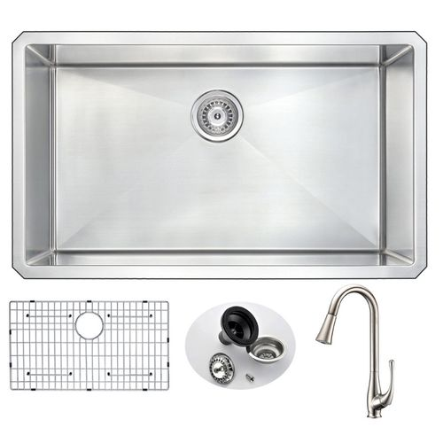 Vanguard 32.75 Single Basin Undermount Kitchen Sink with Singer Pull-Down Faucet in Brushed Nickel