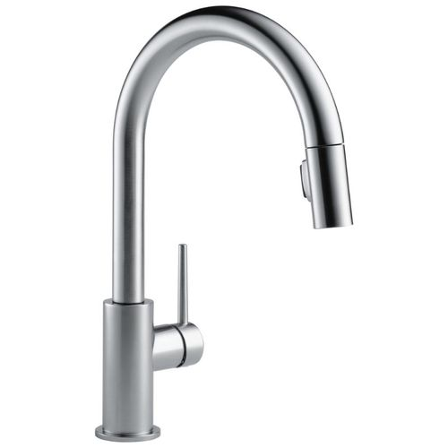 Delta Trinsic Pull-Down Kitchen Faucet in Arctic Stainless - 9159-AR-DST