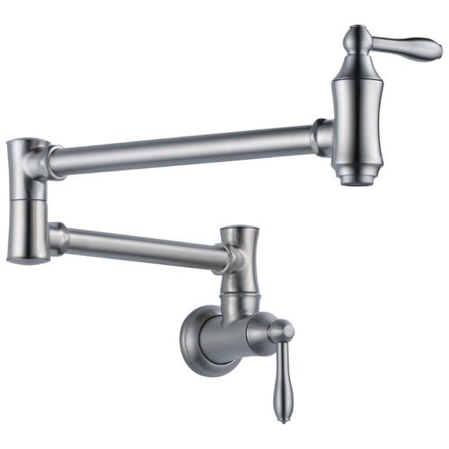 Delta Traditional Pot Filler Kitchen Faucet in Arctic Stainless - 1177LF-AR