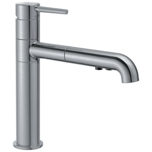 Delta Trinsic Pull-Out Kitchen Faucet in Arctic Stainless - 4159-AR-DST