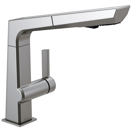 Delta Pivotal Pull-Out Kitchen Faucet in Arctic Stainless - 4193-AR-DST