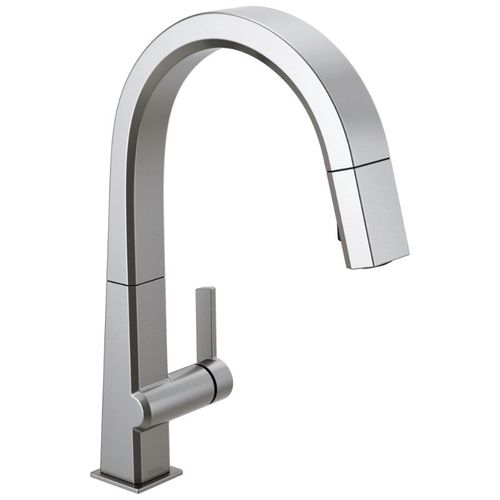 Delta Pivotal Pull-Down Kitchen Faucet in Arctic Stainless - 9193-AR-DST