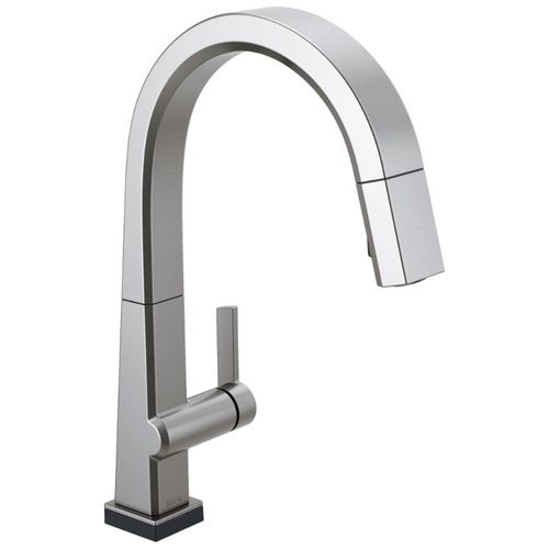 Delta Pivotal Pull-Down Kitchen Faucet in Arctic Stainless with Touch Control - 9193T-AR-DST