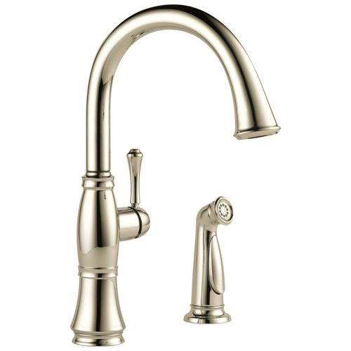 Delta Cassidy Single-Handle Kitchen Faucet in Polished Nickel - 4297-PN-DST