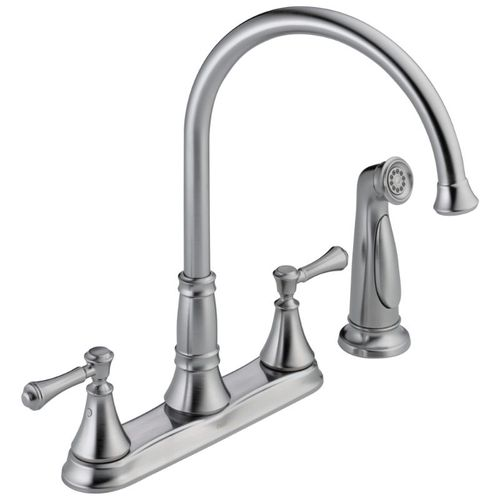 Delta Cassidy Two-Handle Kitchen Faucet in Arctic Stainless - 2497LF-AR