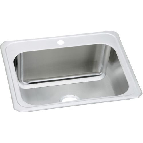 """Pursuit 22"""" x 25"""" x 10.25"""" Stainless Steel Single-Basin Drop-In Kitchen Sink - 1 Faucet Hole"""