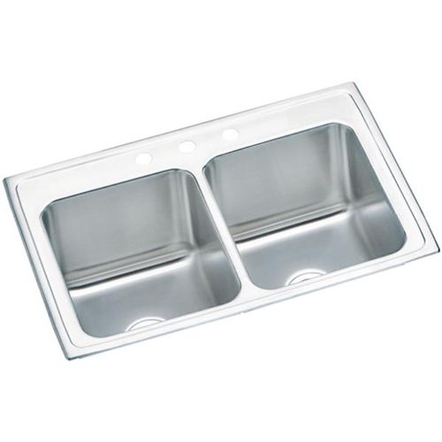 """Lustertone Classic 22"""" x 33"""" x 10.13"""" Stainless Steel Double-Basin Drop-In Kitchen Sink - 3 Faucet Hole"""
