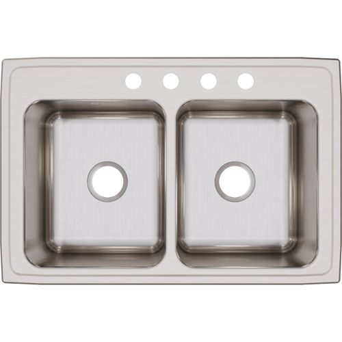 """Lustertone Classic 22"""" x 33"""" x 10.13"""" Stainless Steel Double-Basin Drop-In Kitchen Sink"""