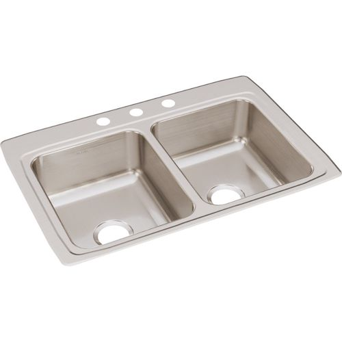 """Lustertone Classic 22"""" x 33"""" x 8.13"""" Stainless Steel Double-Basin Drop-In Kitchen Sink - 3 Faucet Hole"""