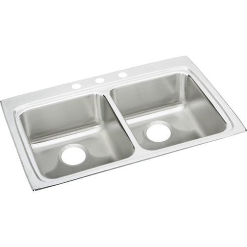 """Lustertone Classic 22"""" x 33"""" x 5.5"""" Stainless Steel Double-Basin Drop-In Kitchen Sink - 3 Faucet Hole"""