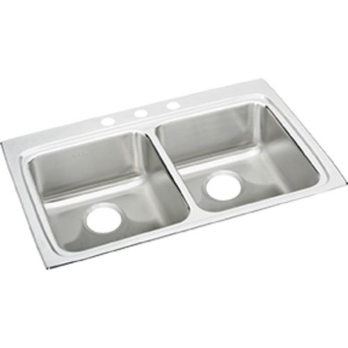 """Lustertone Classic 22"""" x 33"""" x 6.5"""" Stainless Steel Double-Basin Drop-In Kitchen Sink - 3 Faucet Hole"""
