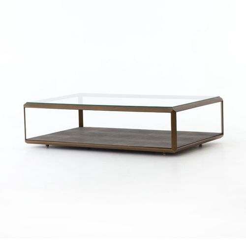 shagreen coffee table in antique brass