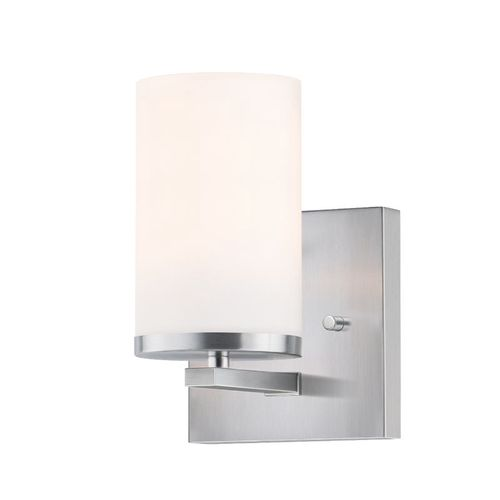 """Lateral 7.63"""" One Light Wall Sconce Bath Vanity Light in Satin Nickel"""