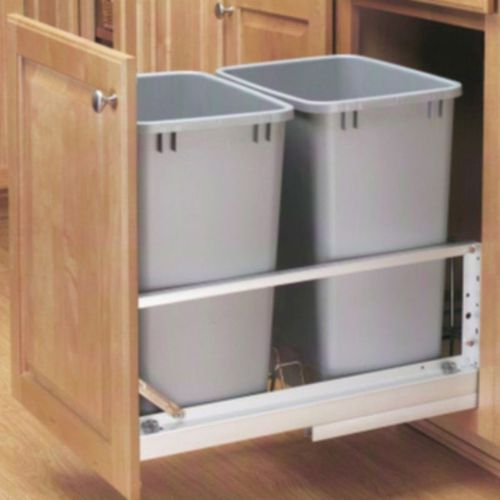 """Rev-A-Shelf 5349 Series Metallic Silver Bottom-Mount Double Waste Container Pull-Out - (14.81"""" x 22.13"""" x 19.06"""") - 5349-18dm-217"""