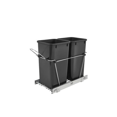 """Rev-A-Shelf RV Series Black Bottom-Mount Double Waste Container Pull-Out - (11.81"""" x 22.25"""" x 19.25"""") - rv-15kd-18c s"""