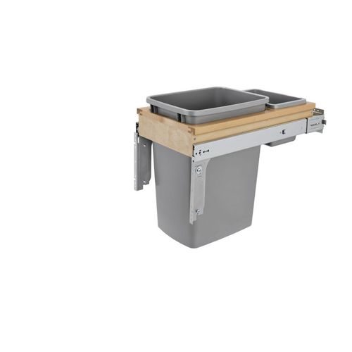 """Rev-A-Shelf 4WCTM Series Natural Maple Top-Mount Single Waste Container Pull-Out - (12"""" x 24"""" x 17.88"""") - 4wctm-12bbscdm1"""