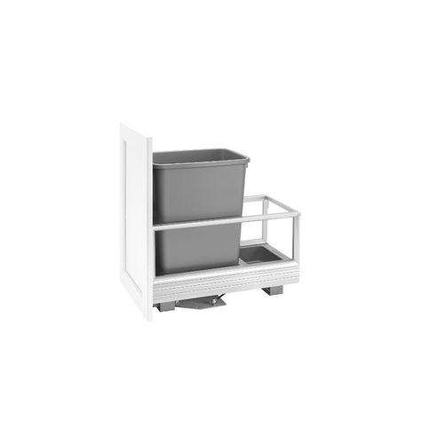 """Rev-A-Shelf 5149 Series Aluminum Bottom Mount Single Waste Container Pull-Out - (12.13"""" x 22"""" x 19.5"""") - 5149-15dm-117"""
