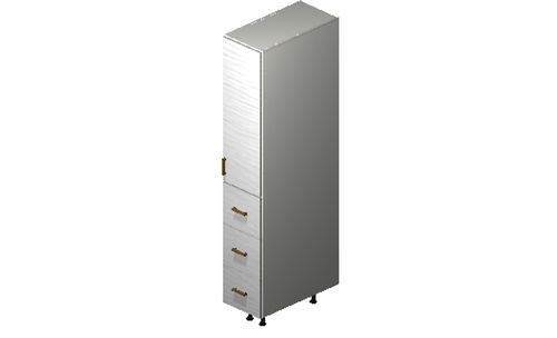 """Marquis White Pine Tall Cabinet - 1 Door, 3 Drawers (12 x 71.25 x 24"""")"""""""""""