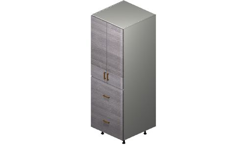"""Marquis Grey Wood Tall Cabinet - 2 Doors, 2 Drawers (24 x 71.25 x 24"""")"""""""""""