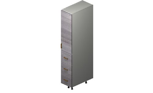 """Marquis Grey Wood Tall Cabinet - 1 Door, 3 Drawers (12 x 71.25 x 24"""")"""""""""""