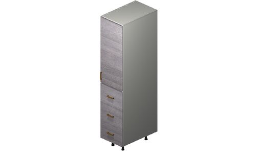 """Marquis Grey Wood Tall Cabinet - 1 Door, 3 Drawers (15 x 71.25 x 24"""")"""""""""""