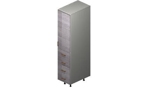"""Marquis Grey Wood Tall Cabinet - 1 Door, 4 Drawers (15 x 71.25 x 24"""")"""""""""""