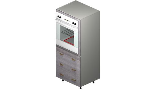 """Marquis Grey Wood Oven Tall Cabinet - 3 Drawers (30 x 71.25 x 24"""")"""""""""""