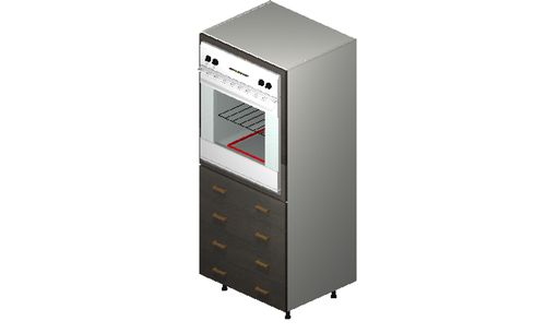 """Marquis Dark Wood Oven Tall Cabinet - 4 Drawers (30 x 71.25 x 24"""")"""""""""""