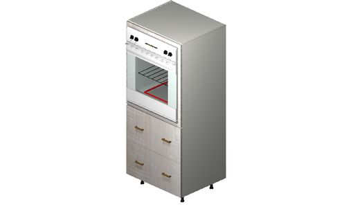 """Cortina Oyster Shell Oven Tall Cabinet - 2 Drawers, 1 Inner Drawer (30 x 71.25 x 24"""")"""""""""""