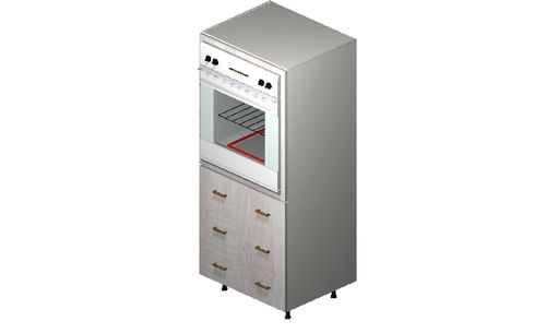 """Cortina Oyster Shell Oven Tall Cabinet - 3 Drawers (30 x 71.25 x 24"""")"""""""""""