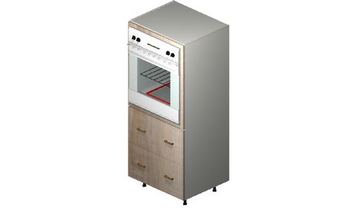 """Cortina Conch Shell Oven Tall Cabinet - 2 Drawers (30 x 71.25 x 24"""")"""""""""""