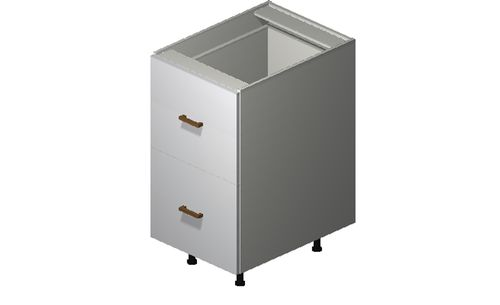 """Monte Carlo Gloss White Base Cabinet - 2 Drawers, 1 Inner Drawer (18 x 34.75 x 24"""")"""""""""""