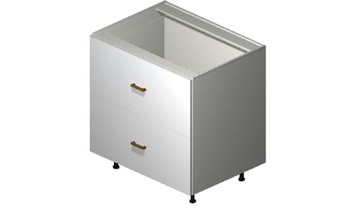 """Monte Carlo Gloss White Base Cabinet - 2 Drawers, 1 Inner Drawer (33 x 34.75 x 24"""")"""""""""""