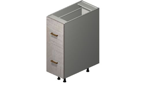"""Cortina Oyster Shell Base Cabinet - 2 Drawers (12 x 34.75 x 24"""")"""""""""""