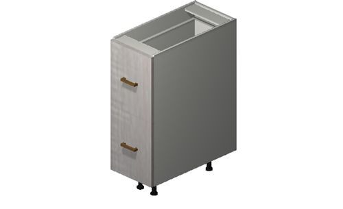 """Cortina Oyster Shell Base Cabinet - 2 Drawers, 1 Inner Drawer (12 x 34.75 x 24"""")"""""""""""